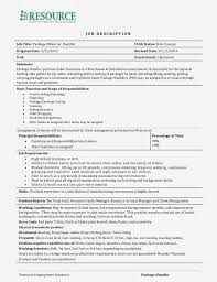 Material Handler Sample Job Description Package Handler Resume For