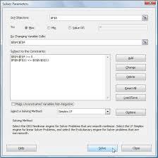 solver parameters dialog