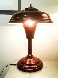 amazing mid century atomic ufo flying saucer industrial lamp vintage lamp desk lamp vintage lighting task lamp metal lamp circa 1930