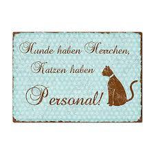 Katzenschild Mit Spruch Katzen Haben Personal A4 Türkis Online