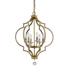 acclaim lighting peyton indoor 6 light raw brass chandelier with crystal bobeches