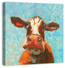 curious cow 2 canvas wall art 30x30  on two cows canvas wall art with curious cow 2 canvas wall art 30x30 farmhouse prints and