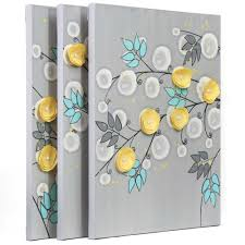 side view of wall art gray and yellow climbing flowers