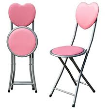 new pink padded folding love heart chair