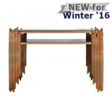 reduced lorenzo metal glass console table rose gold