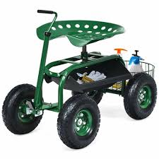 gymax rolling garden cart scooter w