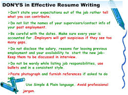 13. DON't'S in Effective Resume Writing ...