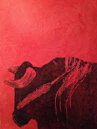 BULL. Hand-pulled, Hand <b>carved</b>, Linocut printed on <b>red rice paper</b> ...