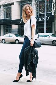 picture of navy skinnies a white tee and black heels with a black leather jacket