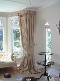 curtains ideas for install bay window curtain rod wonderful