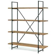 metal and wood shelving brown wood and metal inch 4 shelf bookcase diy metal and wood