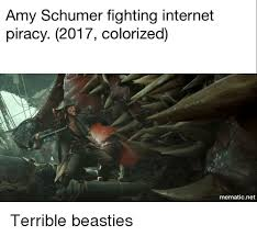 Amy Schumer Fighting Internet Piracy 2017 Colorized Mematic Net
