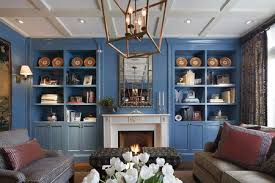 blue living room with built ins