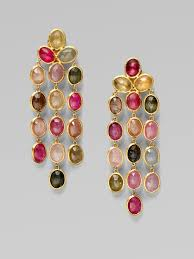 diffe shaded oval shaped stones are used in the golden colored frame to form this style of earring three strings of the stones are like hanged in this