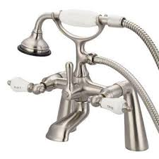 3 handle claw foot tub faucet with labeled porcelain lever handles and handshower in brushed