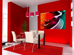 Decorating, Contemporary Small Dining Room Using Two Colors Combination Of Wall  Painting With White Leather