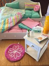 AMERICAN GIRL BEDROOM Set White Trundle Bed and Night Stand with all ...