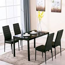 4family 5 piece dining table set 4 chairs gl metal kitchen room breakfast furniture