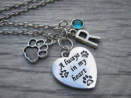 personalized pet memorial necklace always in my heart pendant swarovski crystal jewelry dog