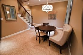 ... Charming Basement Interior With Various Basement Wall Color : Divine  Small Dining Room Decoration Using Light ...