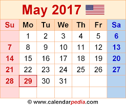May 2017 Calendars for Word, Excel & PDF
