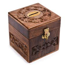 rusticity wooden coin bank 4 in x 4