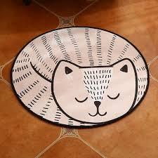 cute sleeping cat round kids area rugs for living room bedroom decor carpet floor mats children soft anti slip play crawling mat carpet carpets for
