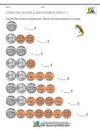 Counting Money Worksheets Grade Printable Nickels And