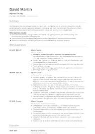 Adjunct Professor Resumes Adjunct Faculty Resume Samples And Templates Visualcv