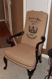 burlap furniture. Stenciling And Painting Burlap Fabric Chairs Furniture E