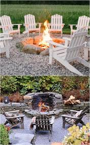 two beautiful variations of in ground fire pits one is made with large boulders the other is made of stacked stone which also functions as a low