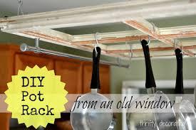 diy old window pot rack