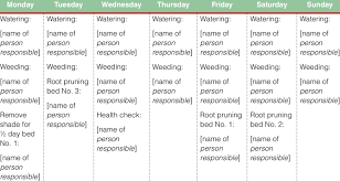 Example Of Weekly Organizer At A Tree Nursery Download Table