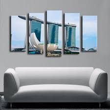 5pcs booking pool singapore wall painting for home decor