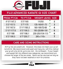 Fuji Judo Size Chart 2019