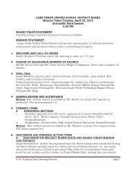 4-29-14 Special Board Meeting Minutes Page 1 CAMP VERDE UNIFIED SCHOOL  DISTRICT BOARD Minutes Taken Tuesday, April 29, 2014 Act