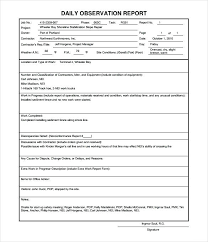 Blank Daily Observation Report Template Work In Progress