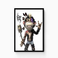 Shake Funny Baby Monkey Paper Print Decorative Posters In