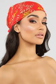 Designer Head Scarf Off The Chain Head Scarf Red