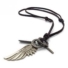 mens vintage angel wing cross pendant brown leather cord necklace chain