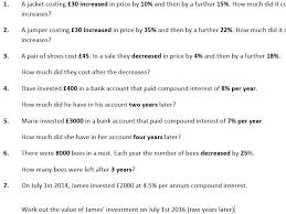 repeated percentage change and compound interest worksheet and powerpoint by ukmaths teaching resources tes