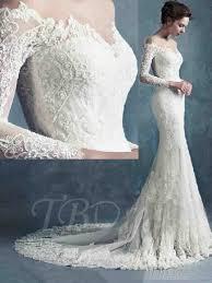 sheer scoop neck zipper up long sleeves lace mermaid wedding dress