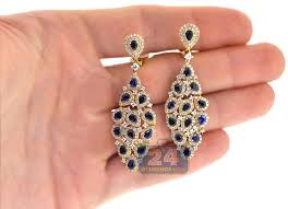 womens sapphire diamond chandelier earrings 18k yellow gold 8 03