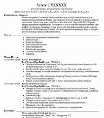 Hotel Chief Engineer Sample Resume