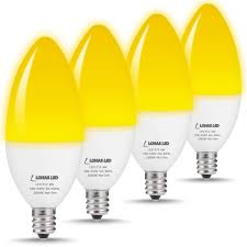 Led Yellow Bug Light Us 16 99 15 Off Chandelier Led Candelabra Bulb E12 60watt Equivalent Light 6w Ceiling Fan With Lights Bug Lights Yellow 2000k 550lumens 4pack In Led
