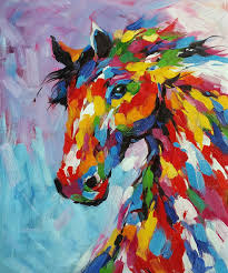 knife oil painting horse on canvas abstract living room wall art decor handmade abstract knife painting