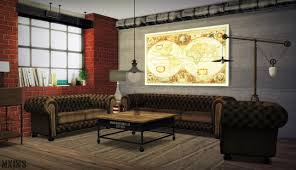 Living Room With Chesterfield Sofa Xmiramiras Cc Finds Mxims Urban Industrial Living Room