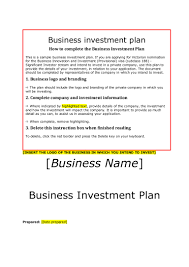 Investment Plan Templates Siv Business Investment Plan Template