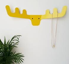yellow antler rack deer wall