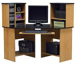 Furniture Natural Ash Wooden Corner Computer Desk With Hutch And